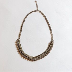 Gold Statement Necklace Silver Embellishment EUC
